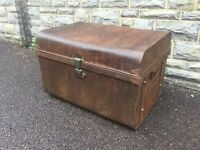 Antique Tin Steamer Trunk Vintage Case Old School Trunk Retro Trunk