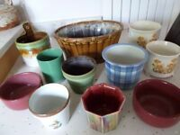 Selection pottery, china, one wicker, indoor plant, bulb, flower pot holders, retro, various colours