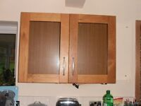Glass Fronted, Oak Effect Wall Unit