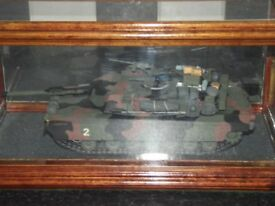 Collectable 'Military Armoured Tank' in glass display case. Camouflaged.'Boys toys' Memorabilia.