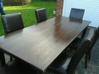 Oak table & 6 leather chairs