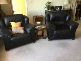 Brown soft leather Armchairs excellent condition