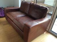 2 Two seater brown leather couches