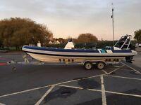 Cobra 7.5m RIB with a 225hp Verado Mercury Outboard on Trailer for Sale