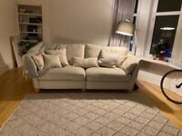 Oakland Furniture Gainsborough 4 Seater Sofa in Beige with Beige Scatters