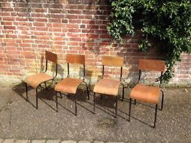 vintage industrial stackable chairs