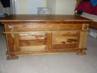 large wooden trunk / ottoman
