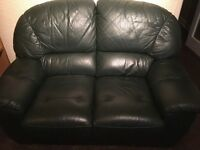 3 piece green leather sofa