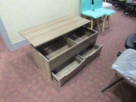 teak designer coffee table with draws
