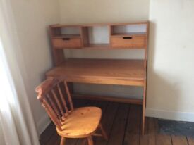 Large wooden desk and chair