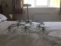 Large Glass and Chrome Ceiling Lights