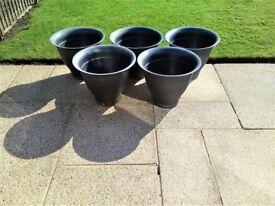 5 X BLACK PLASTIC GARDEN BELL POTS