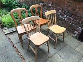 5 wooden dining chairs.