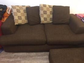 Brown linen divani double sofa bed with foot stool