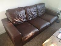 Brown leather sofa 206cm x 86cm