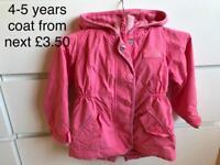 Girls 4-5 years coat £3.50