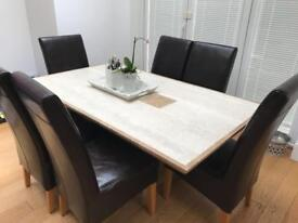 Solid Marble Dining Table and 6 Leather Chairs