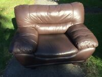 Two Large Brown Leather Sofa Chairs