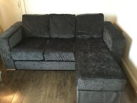 Nabru Ato 3-Seat Chaise Double Sofa Bed in Charcoal