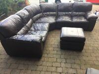 2.5 meter brown real leather corner sofa & foot stool