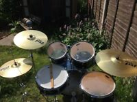 Mapex Tornado drums with Paiste PST3 cymbals