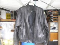 "MANS BLACK LEATHER JACKET 42"" CHEST - 2 POCKETS ZIP/STUD FRONT - EXCELLENT CONDITION"