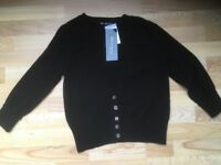 Ladies black M&S cashmere cardigan size 8