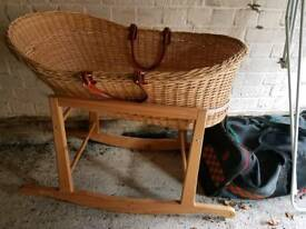 Moses.basket with wooden stand