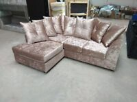 NEW L/H MINK CRUSHED VELVET CORNER SOFA ..INCLUDES FREE MATCHING STOOL & DELIVERY ALL FOR £279.99