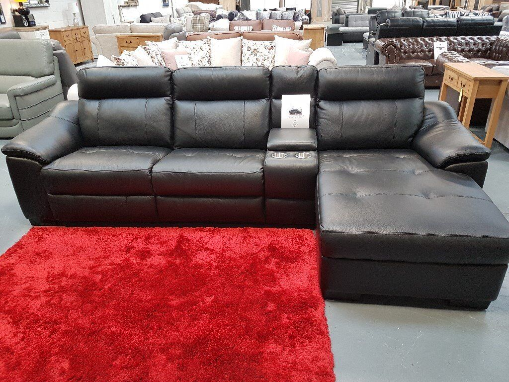 Brand New Electric Black Leather Right Hand Chaise Corner