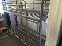 """2'6"""" silver metal bunk beds with mattresses"""