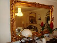 LARGE GOLD ORNATE MIRROR 6FT LONG 4FT HIGH AS NEW COST £850 HOUSE MOVE FORCES SALE BARGAIN £250