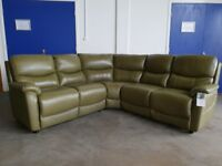 BRAND NEW STILL WITH TAGS BUZZ GREEN LEATHER CORNER SOFA MADE BY FABB SOFAS DELIVERY AVAILABLE