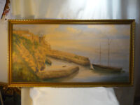 Trevaunance Cove Large Vintage st agnes, C19th Harbour Oil Painting Signed 39""