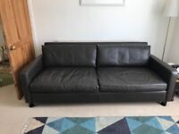 Habitat Chester 3 Seater Brown Leather Sofa