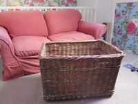 Large Vintage Wicker Basket Storage