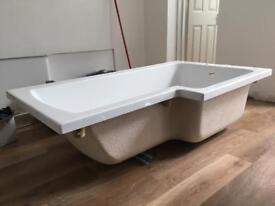 L shaped shower bath- NEW