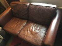 Great quality brown leather 2 seater sofa