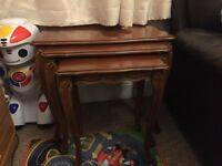 Set of three real wood coffee table. Hardly used.
