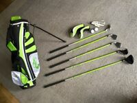 Junior Golf Clubs and bag package set. Woodworm. Right hand. Good Condition
