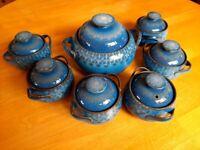 "Denby ""midnight"" blue casserole dish and soup bowls"