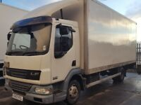 2008-57 plate daf lf 75-180 day cab manual 20ft grp box van with colum tailif...