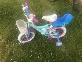 """14"""" Frozen Bike with stabilisers and basket"""