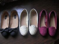 3 pairs Black, Cream, Rose of comfy flat shoes size 8