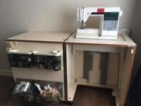 Sewing machine with desk and cabinet