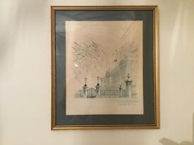 2 prints by Mads Stage, framed, Buckingham Palace and Horse Guards, signed by him