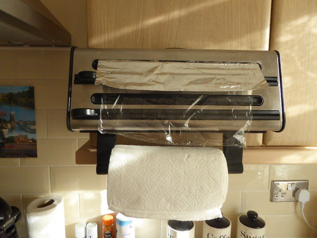 wall mounted three in one kitchen roll dispenser