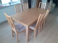 DINING TABLE & 6 CHAIRS - light oak colour
