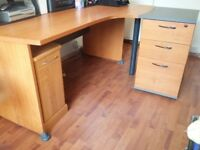 Large Corner Office Desk with a x 4 drawer return, separate CPU cabinet and large cupboard