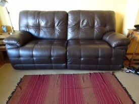 Brown Leather reclining sofa and chair